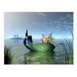 Fairy Butterfly Boat Postcard