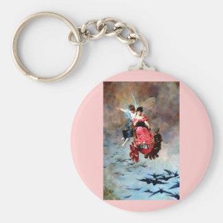Fairy carriage swallow bird flight fantasy art keychain