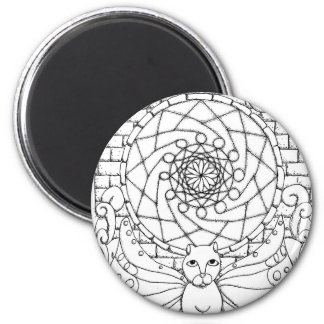 Fairy Cat and Rose Window Refrigerator Magnet