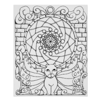 Fairy Cat and Rose Window Poster
