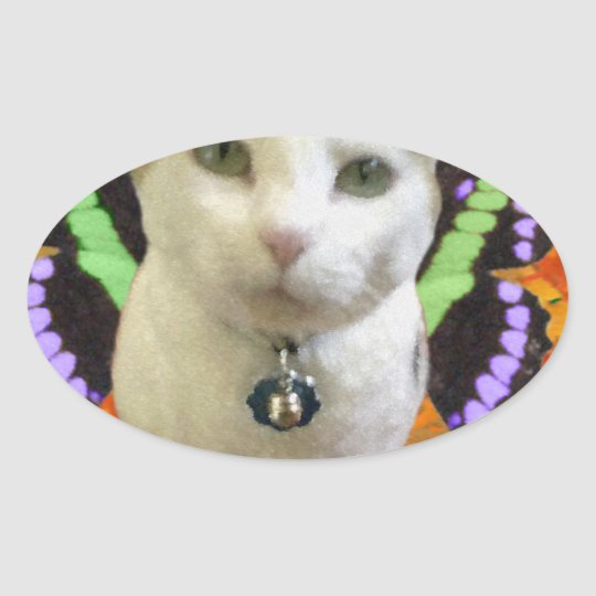 Fairy Cat Oval Sticker