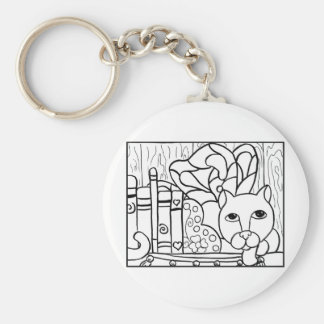 Fairy Cat W Books Keychain