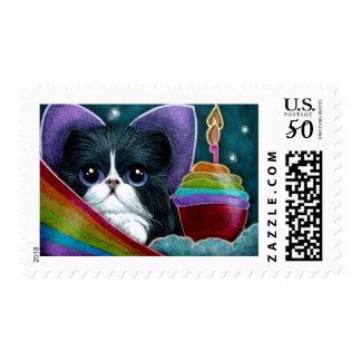 FAIRY CAT WITH BIRTHDAY CUPCAKE CUSTOMIZE CARD POSTAGE