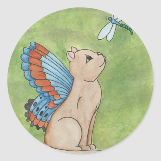 Fairy Cat With Dragonfly Classic Round Sticker