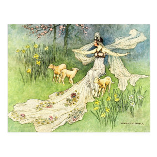 Fairy Coquette and Lambs Postcard