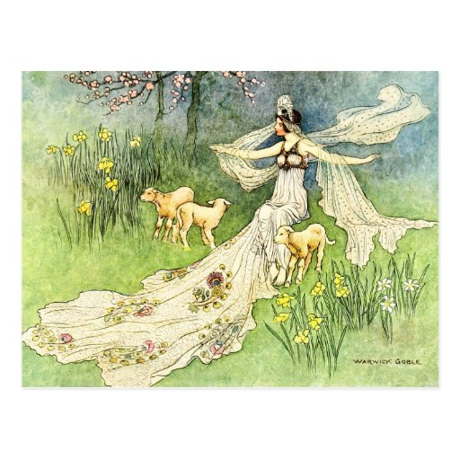Fairy Coquette and Lambs Postcards