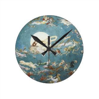 Fairy Dance Around The Moon Round Wall Clock