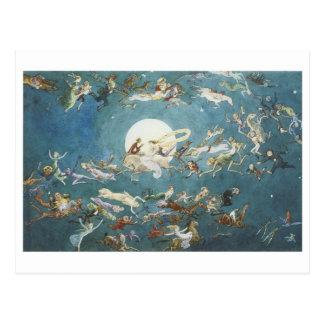Fairy Dance Around The Moon Postcard