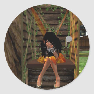 Fairy Deep in Thought Classic Round Sticker