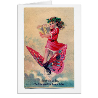 Fairy Delivers Coffee, Greeting Card