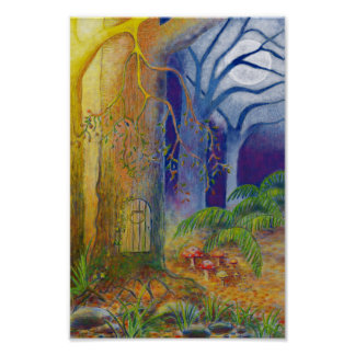 Fairy door and toadstools in enchanted forest poster