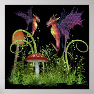 Fairy Dragon Fantasy Dragonfly Creature Fairytale Poster