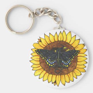 Fairy Dragon on Sunflower Keychain