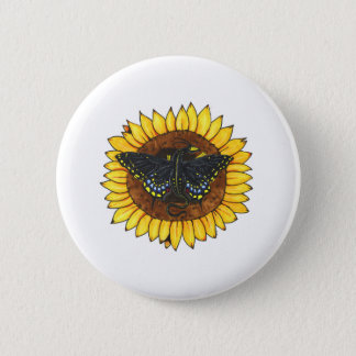 Fairy Dragon on Sunflower Pinback Button