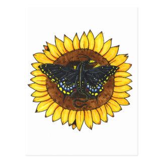 Fairy Dragon on Sunflower Postcard
