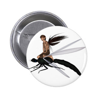 Fairy Dragonfly Rider Pinback Button