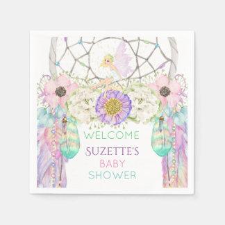 Fairy Dream Catcher Feather Lavender Pink Mint Paper Napkin