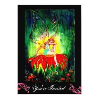 FAIRY DREAMING ON A RED FLOWER black yellow green Card