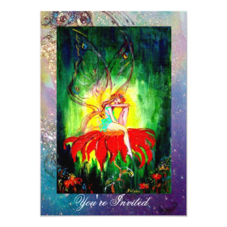 FAIRY DREAMING ON A RED FLOWER blue yellow,green Card