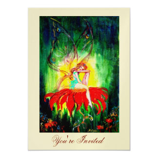 FAIRY DREAMING ON A RED FLOWER gold yellow green Card