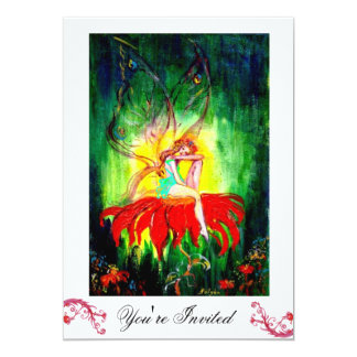 FAIRY DREAMING ON A RED FLOWER white yellow green Card