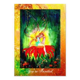 FAIRY DREAMING ON A RED FLOWER  yellow green Card