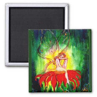 FAIRY DREAMING ON THE FLOWER 2 INCH SQUARE MAGNET