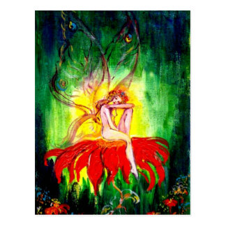 FAIRY DREAMING ON THE FLOWER POSTCARD