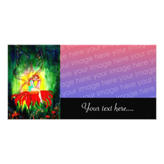 FAIRY DREAMING ON THE RED FLOWER green yellow Photo Card