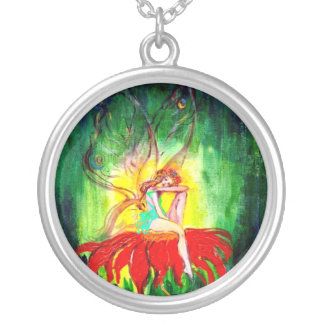 FAIRY DREAMING ON THE RED FLOWER green yellow Silver Plated Necklace