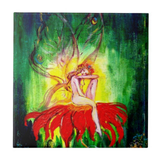 FAIRY DREAMING ON THE RED FLOWER  green yellow Tile