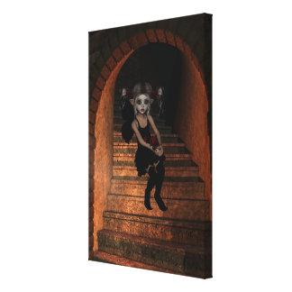 Fairy Elf Dark Wolf Raven The Stairs Canvas Print
