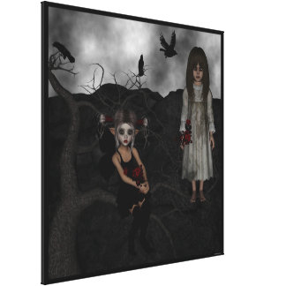 Fairy Elf Dark Wolf Raven Undead RoseMary Canvas Print