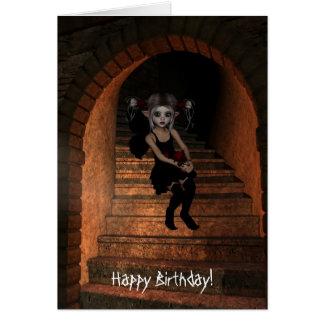 Fairy Elf DarkWolf Raven The Stairs Happy Birthday Card