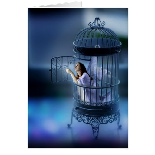 Fairy Escaping Her Gilded Cage Greeting Card
