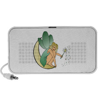 Fairy Faerie Pixie Girl on Crescent Moon with Wand Mp3 Speakers