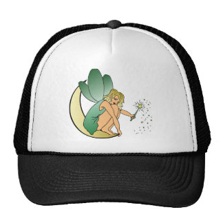 Fairy/Faerie/Pixie Girl on Crescent Moon with Wand Trucker Hat