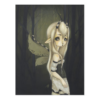 Fairy fantasy art postcard green