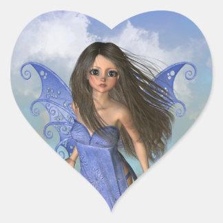 Fairy Flight Bleu Heart Sticker