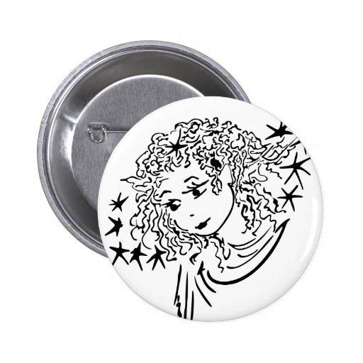 Fairy flower pinback button
