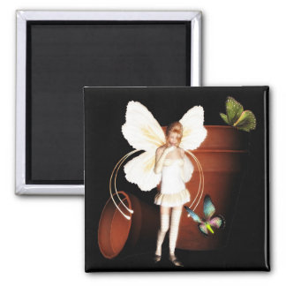 Fairy  flower pot garden magnet