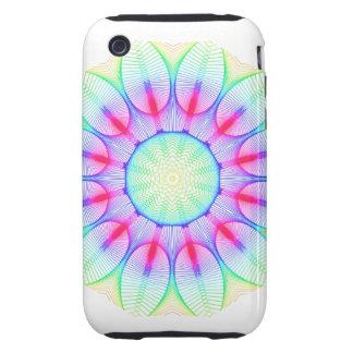 Fairy Garden Mandala, Abstract Green Magenta Tough iPhone 3 Cases