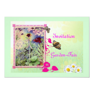 fairy-garden opening 5x7 paper invitation card
