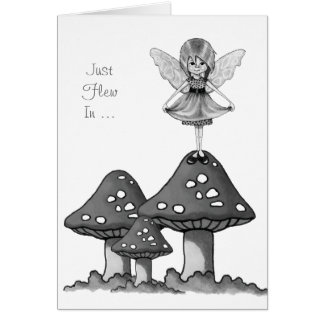 Fairy Girl on Toadstools, Just Flew In, Pencil Art Card