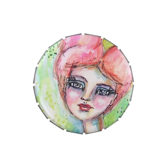 Fairy Girl Whimsical Watercolor Cute Pink Green Candy Tin
