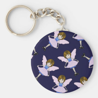 Fairy Girl with Wings, Random Pattern, Art Basic Round Button Keychain