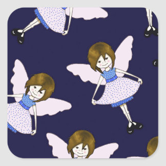 Fairy Girl with Wings, Random Pattern, Art Square Sticker