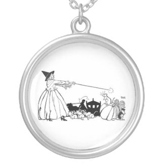 Fairy Godmother and Her Wand Round Pendant Necklace