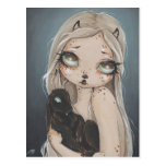 Fairy gothic jackalope fantasy art postcard
