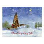 Fairy Hawk Yule Postcard